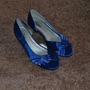 Sofwear Royal Blue Satin Low Heel Shoes 8W NEW